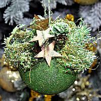 """Новогодний шар с декором пластиковый """"Мятный"""" 80 мм, фото 1"""