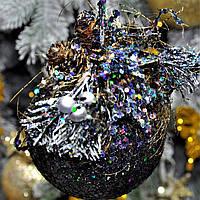 """Новогодний шар с декором пластиковый """"Радуга"""" 80 мм, фото 1"""