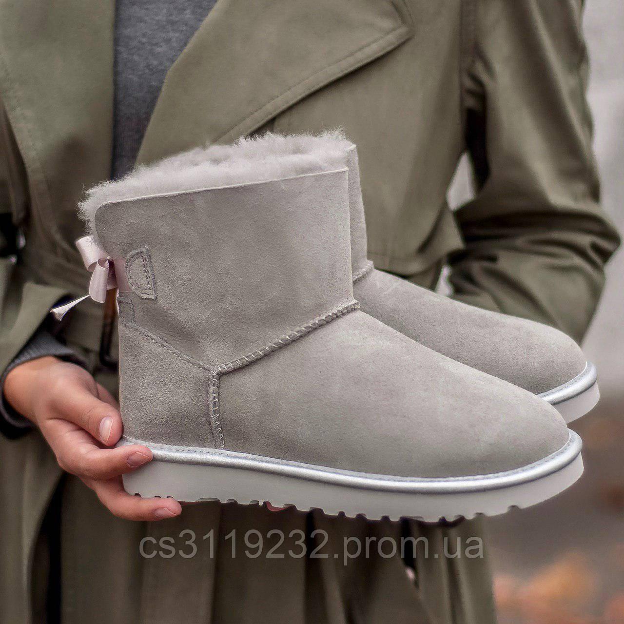 Жіночі чоботи зимові UGG Classic Mini (сірий)