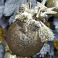 "Новогодний шар с декором пластиковый ""Золото"" 80 мм, фото 1"