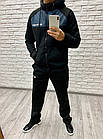 Мужской зимний теплый спортивный костюм с начесом черный + вставки графит 46 48 50 52, фото 4