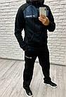 Мужской зимний теплый спортивный костюм с начесом черный + вставки графит 46 48 50 52, фото 5
