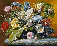 """Картина раскраска по номерам """"Букет с бабочкой"""" на холсте 40Х50 см. Babylon VP1047"""