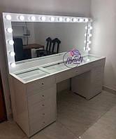 Широкий стол для визажиста на 2 рабочих места, макияжный стол с зеркалом, широкое зеркало