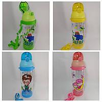 Детская бутылочка 600 мл для воды с трубочкой и ремешком в ассортименте.