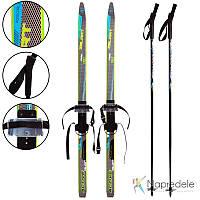 Лыжи беговые в комплекте с палками Zelart SK-0881-150B (l-лыж-150см, l-пал-130см, PVC чехол, крепл. рег.)