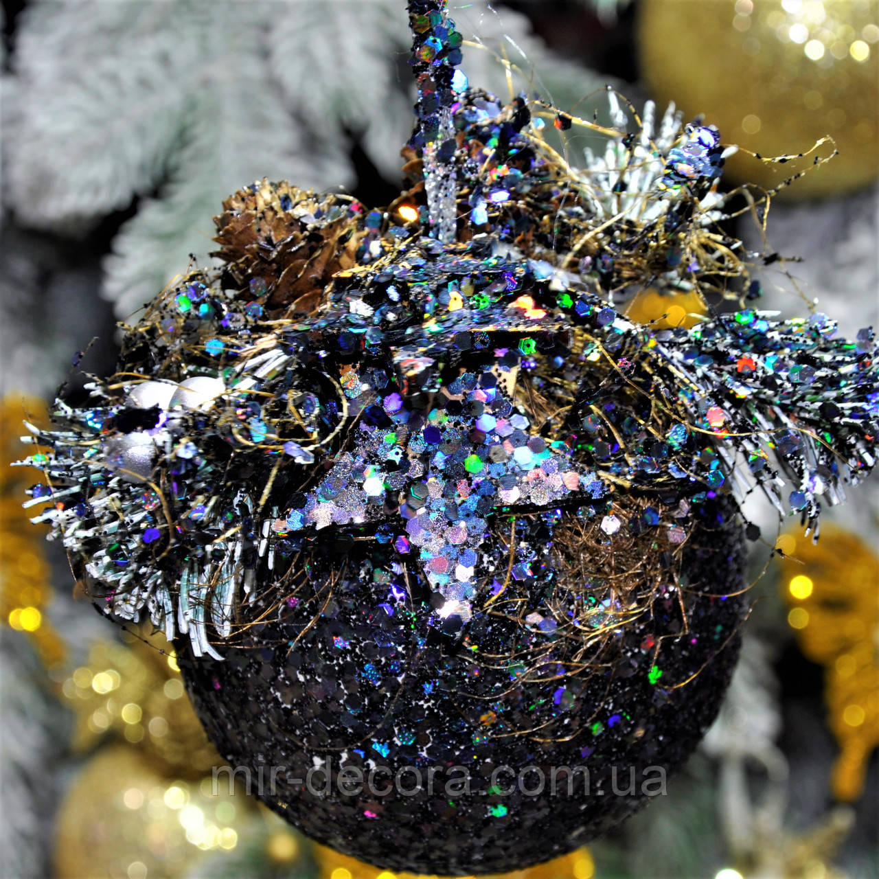 """Новогодний шар с декором пластиковый """"Радуга"""" 100 мм"""