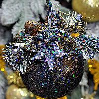 """Новогодний шар с декором пластиковый """"Радуга"""" 100 мм, фото 1"""