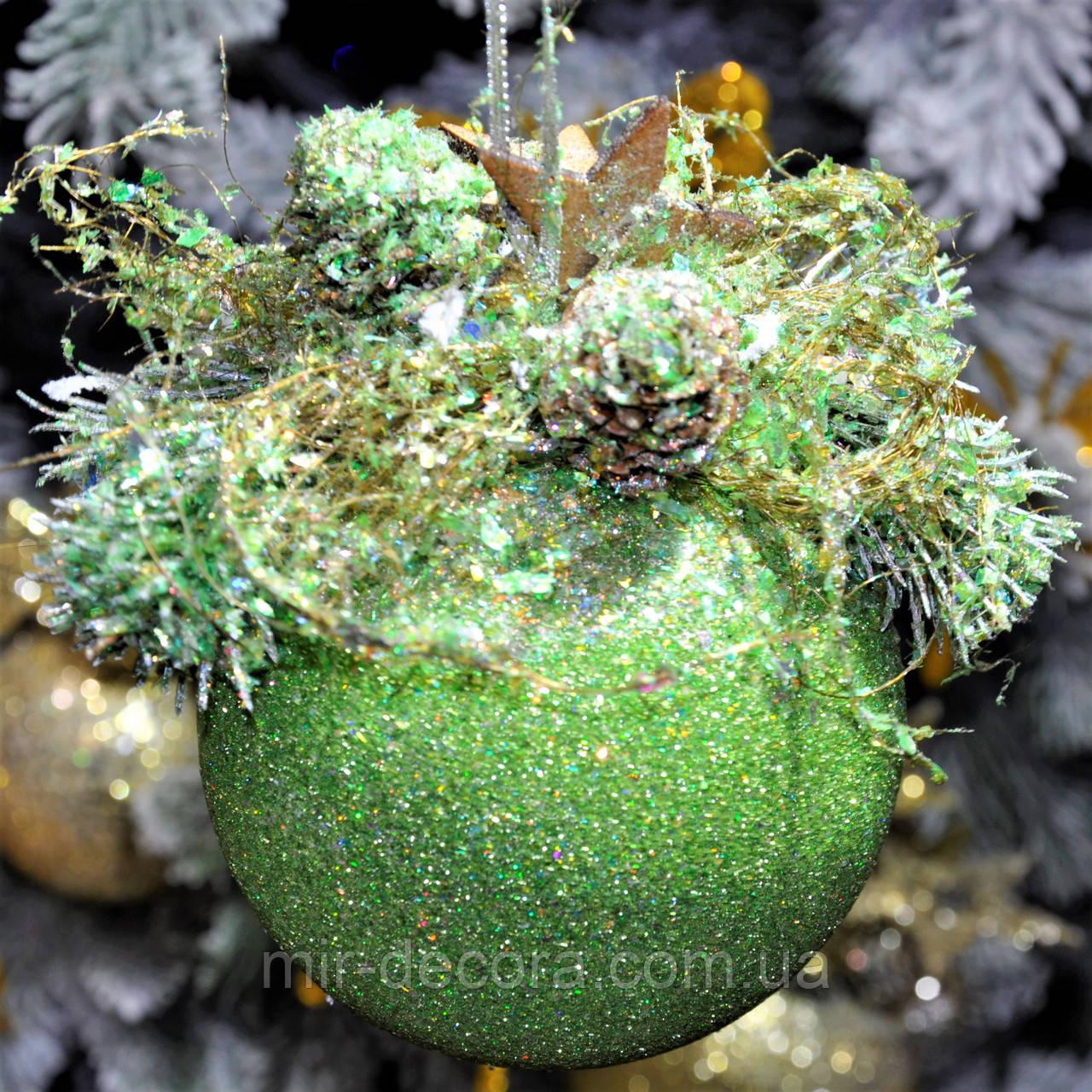 """Новогодний шар с декором пластиковый """"Мятный""""100 мм"""