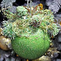 """Новогодний шар с декором пластиковый """"Мятный""""100 мм, фото 1"""
