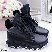 37 р. Ботинки женские зимние черные кожаные на подошве, из натуральной кожи, натуральная кожа