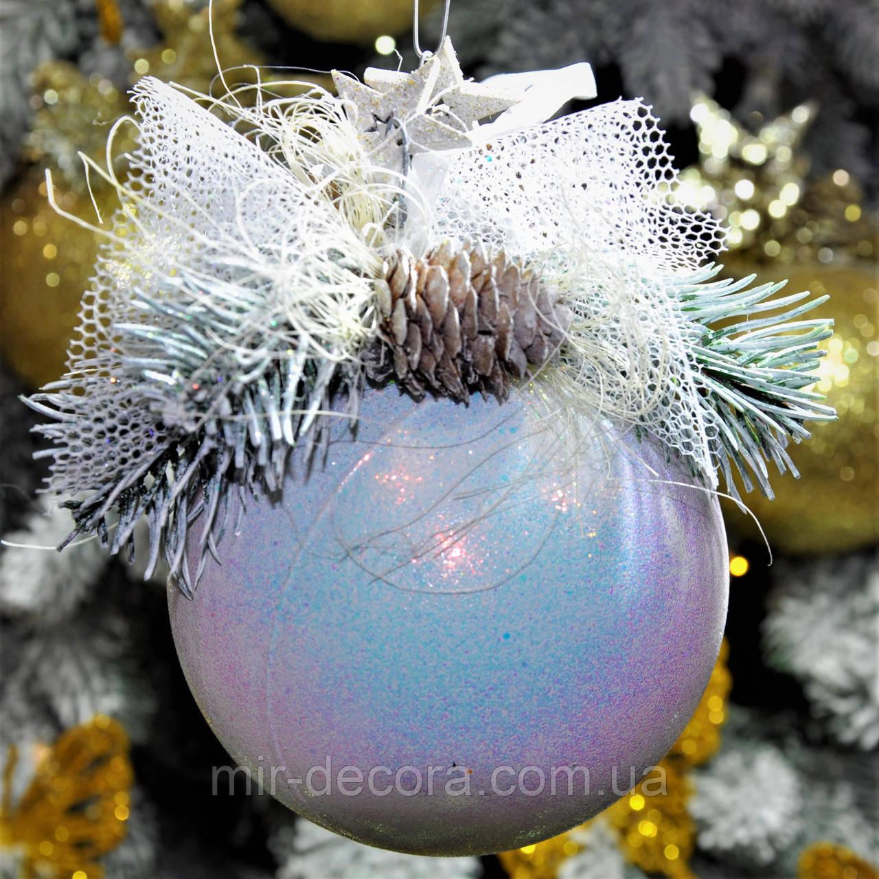 """Новогодний шар с декором пластиковый """"Белый"""" 100 мм"""