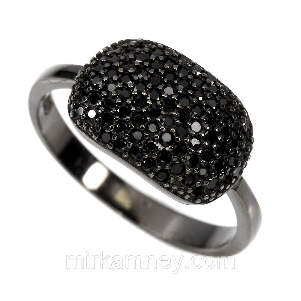 Серебряное кольцо натуральная чёрная шпинель. Размер 17,5. Покрытие чёрный родий