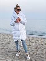 Женская зимняя куртка с капюшоном на силиконе 300 42-44 46-48 черная розовая белая мятная Зефирка