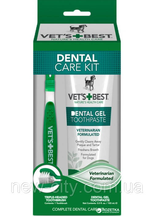 Vet`s Best Dental Care Kit набор для гигиены полости рта собак 103мл