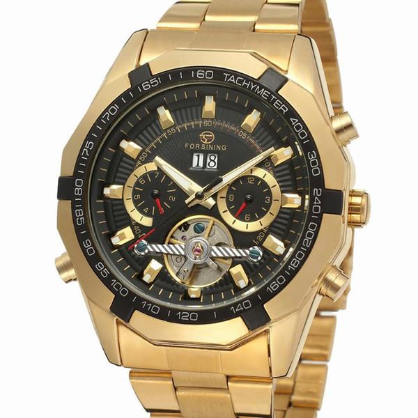 Механические часы с автоподзаводом FORSINING TEXAS (gold-black)