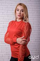 Блузка женская красная в горошек