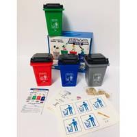 """Игра """"Классификация мусора""""В наборе 4 мусорных бака и карточки"""