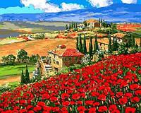 """Картина раскраска по номерам """"Тоскана Вилла"""" на холсте 40Х50 см. Babylon VP1061"""