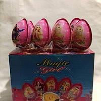 Яйцо шоколадное пластиковое 24 шт, 11 гр Magic girl