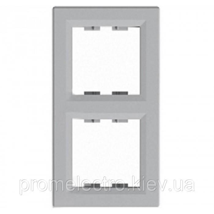 Рамка установочная 2-постовая вертикальная алюминий ASFORA EPH5810261