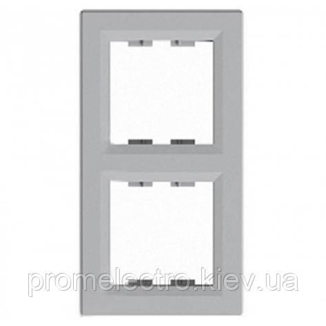 Рамка установочная 2-постовая вертикальная алюминий ASFORA EPH5810261, фото 2