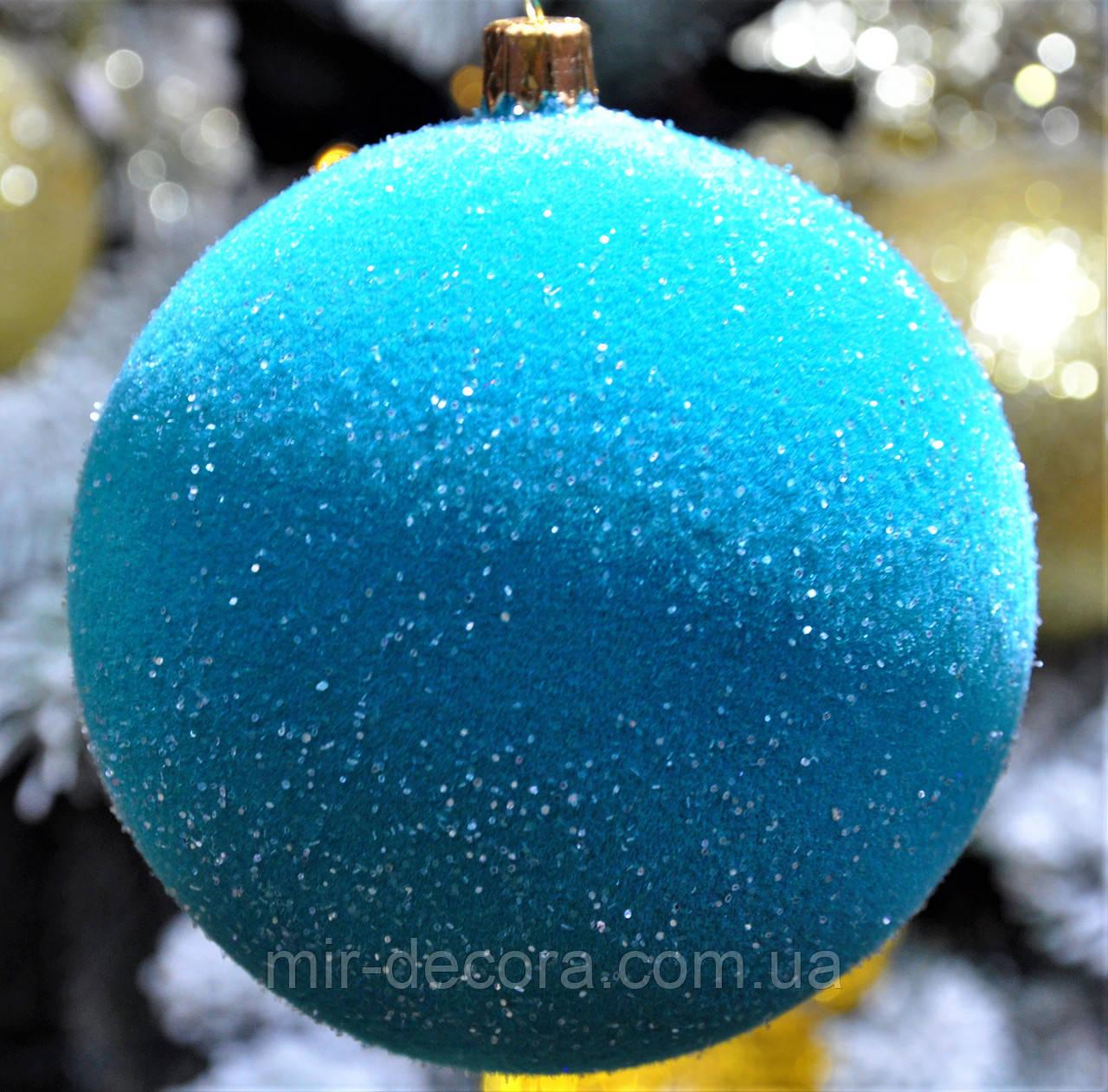 """Новогоднее украшение на елку в наборе """"Бархат бирюза"""" диаметр 80 мм (в уп. 4 шт.)"""