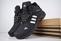 Мужские зимние кроссовки Adidas Climaproof высокие чёрные с белыми полосками