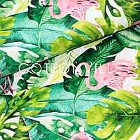 Бязь Фламінго тропічні листя, фото 1