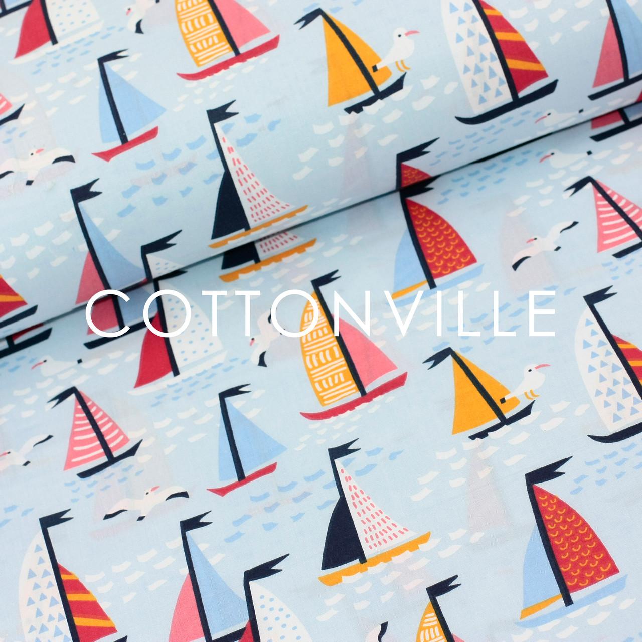 Хлопковая ткань Кораблики на голубом