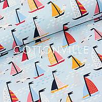 Хлопковая ткань Кораблики на голубом, фото 1