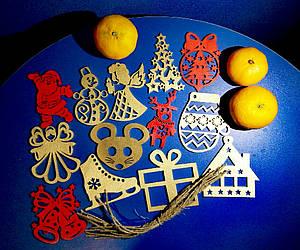 Деревянные игрушки на елку (цвет-золото+красный), набор елочных игрушек из фанеры