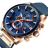 Мужские часы Curren (blue/rose gold) - гарантия 12 месяцев