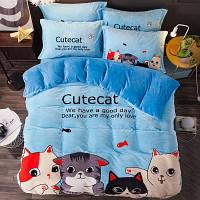 Постельное белье Фланель-микрофибра 200х220 Homytex Cute cat