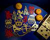Дерев'яні іграшки на ялинку в коробці (колір-золото+червоний), набір ялинкових іграшок з дерева, фото 2