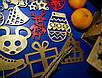 Дерев'яні іграшки на ялинку в коробці (колір-золото+червоний), набір ялинкових іграшок з дерева, фото 3