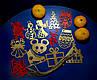 Дерев'яні іграшки на ялинку в коробці (колір-золото+червоний), набір ялинкових іграшок з дерева, фото 4