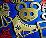 Дерев'яні іграшки на ялинку в коробці (колір-золото+червоний), набір ялинкових іграшок з дерева, фото 5