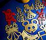Дерев'яні іграшки на ялинку в коробці (колір-золото+червоний), набір ялинкових іграшок з дерева, фото 7