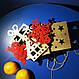 Дерев'яні іграшки на ялинку в коробці (колір-золото+червоний), набір ялинкових іграшок з дерева, фото 8