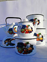 """Набор кухонной посуды, набор эмалированных кастрюль, качественный набор кастрюль, """"Тропиканка"""". ТМ """"Идилия"""""""