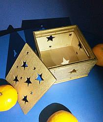 Подарочная коробка из дерева (золото), коробка для подарков деревянная (gold)