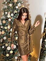 Нарядное женское платье на запах люрекс серебро, золото, чёрный, бордо, электрик, фото 1