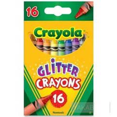 Набор Crayola 16 восковых мелков с блестками (52-3716). Оригинал