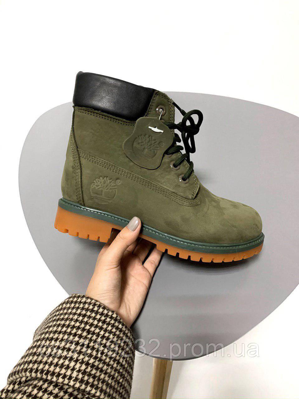 Жіночі зимові черевики Timberland (хутро) (зелные)