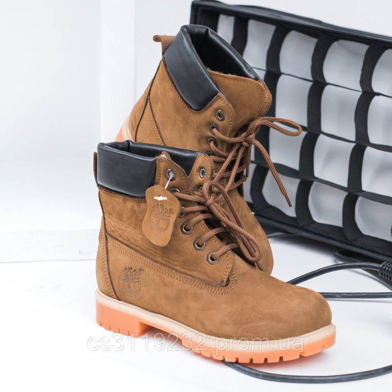 Женские ботинки зимние Timberland (мех) (шеколадные)