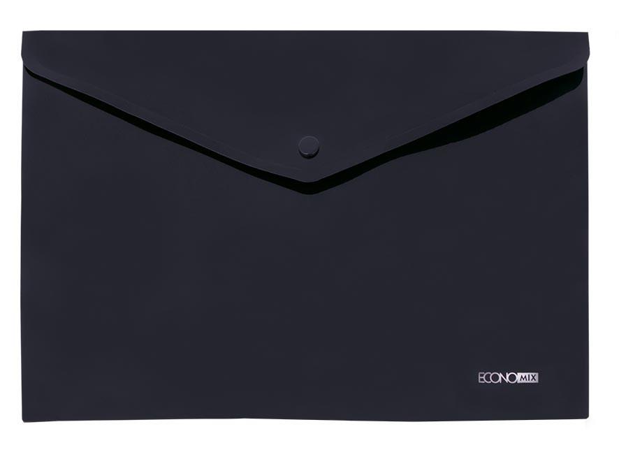 """Папка-конверт А4 непрозрачная на кнопке Economix, 180 мкм, фактура """"Апельсин"""""""", черная E31305-51"""