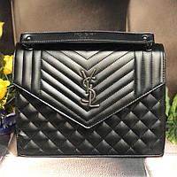 Женская стеганная сумка в стиле Yvеs Sаint Lаurеnt (Ив Сен Лоран), черная