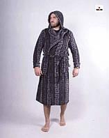 Чоловічий махровий халат теплий з капюшоном 48-58 р.