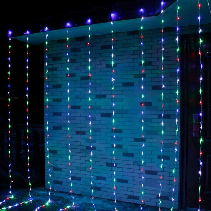 Декор Светодиодная Гирлянда Водопад Дождь Штора Занавес ЛЕД Мутьтицвет RGB 3х2м 280LED От 220В С Переходником